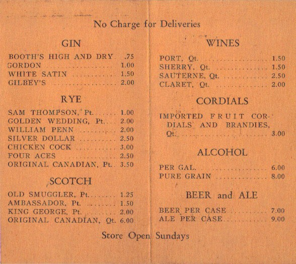 Liquor delivery price menu 1933