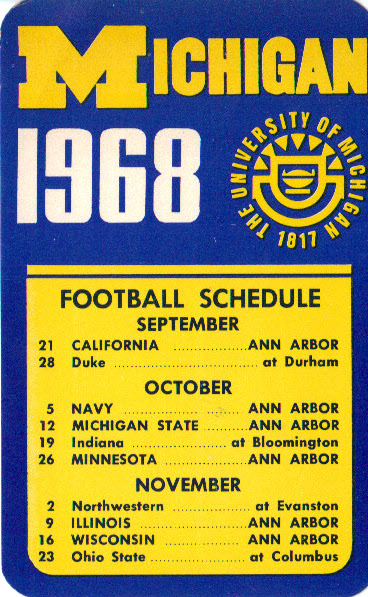 Michigan 1968 schedule